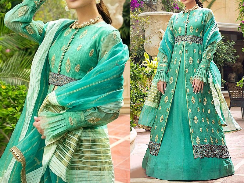 Heavy Embroidered Organza Party Dress with Organza Dupatta
