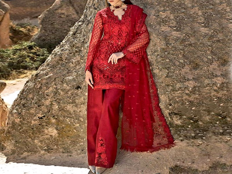 Heavy Embroidered Net Red Dress