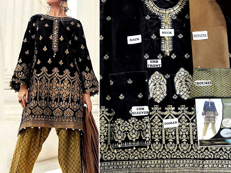 Embroidered Black Velvet Dress with Jamawar Trouser