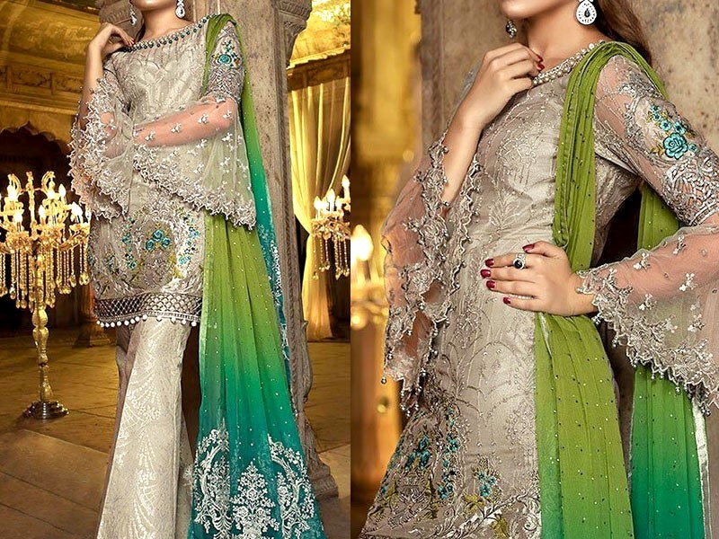 Heavy Embroidered Net Dress with Jamawar Trouser