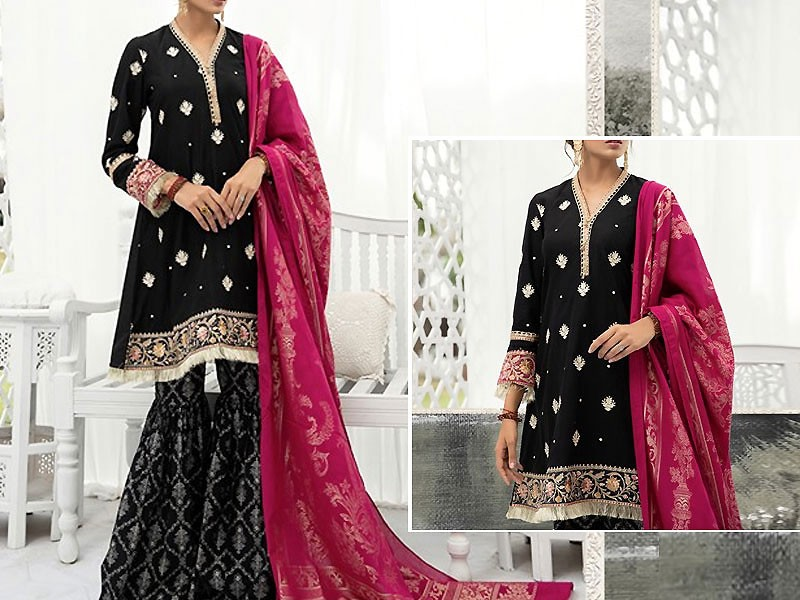 Heavy Embroidered Black Twill Linen Dress with Wool Shawl Dupatta Price in Pakistan