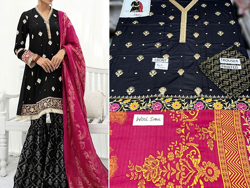 Heavy Embroidered Black Twill Linen Dress with Wool Shawl Dupatta
