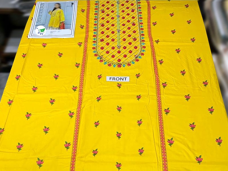 Embroidered Yellow Linen Dress with Linen Dupatta