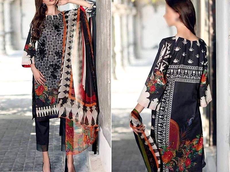 Embroidered Black Linen Dress with Linen Dupatta