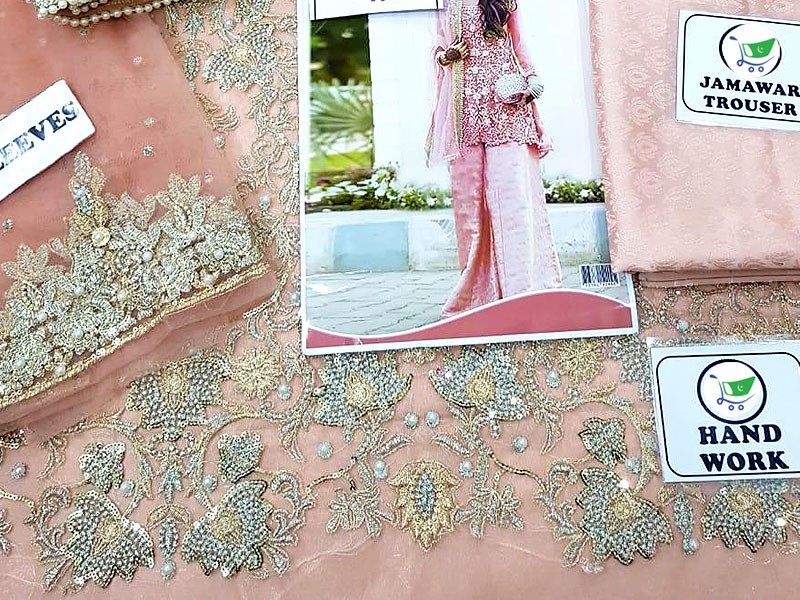 Heavy Embroidered Net Bridal Dress with Jamawar Trouser