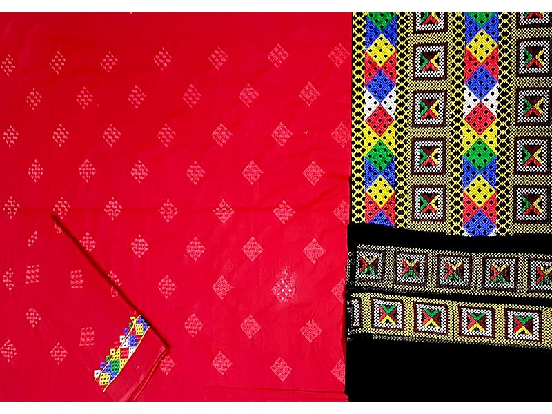 3-Pcs Embroidered Linen Dress with Phulkari Embroidered Trouser