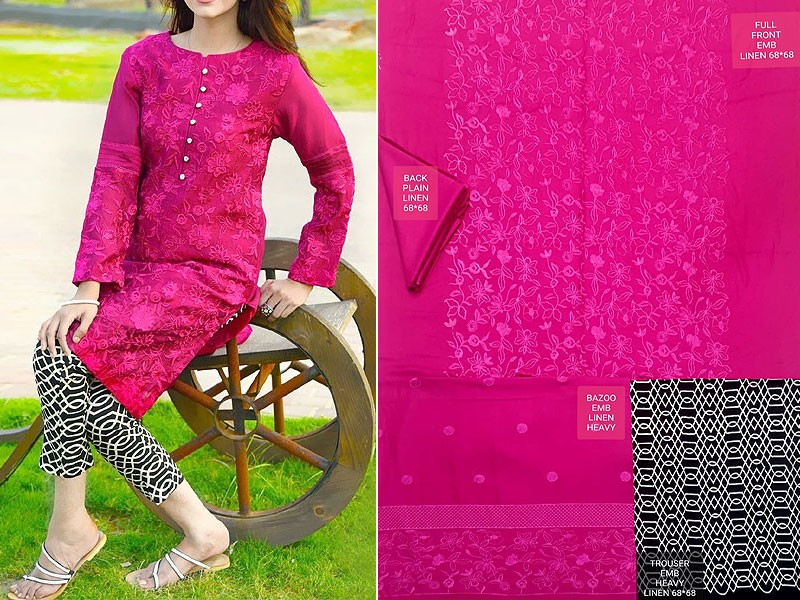 2-Pcs Heavy Embroidered Linen Dress with Embroidered Trouser