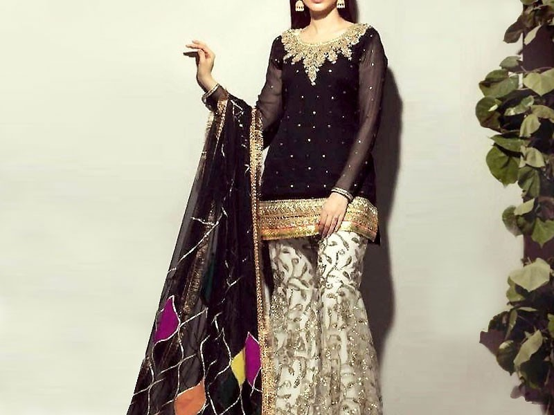 Embroidered Black Chiffon Suit with Embroidered Silk Trouser Price in Pakistan