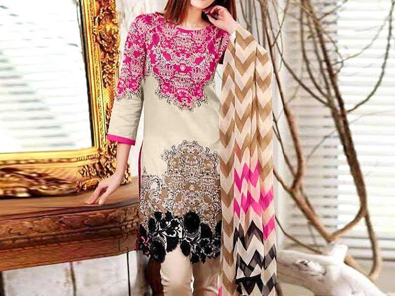 Heavy Embroidered Linen Dress with Wool Shawl Dupatta Price in Pakistan