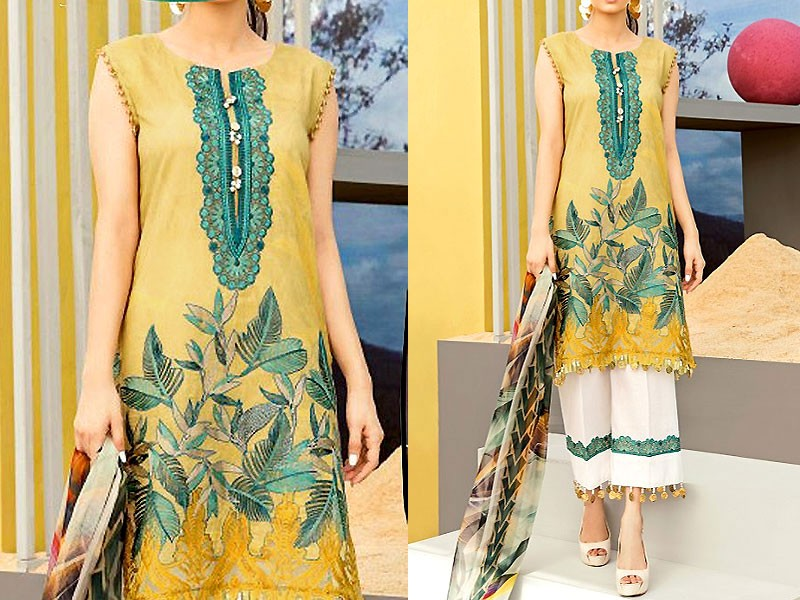 Luxury Embroidered Linen Dress with Wool Shawl Dupatta