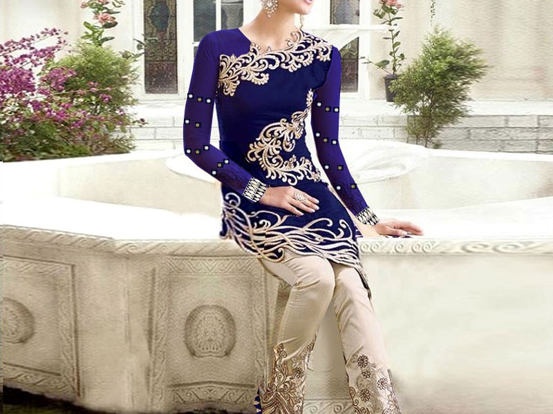 2-Pcs Embroidered Navy Blue Linen Dress Price in Pakistan