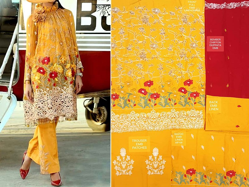 Heavy Embroidered Linen Suit with Chiffon Dupatta