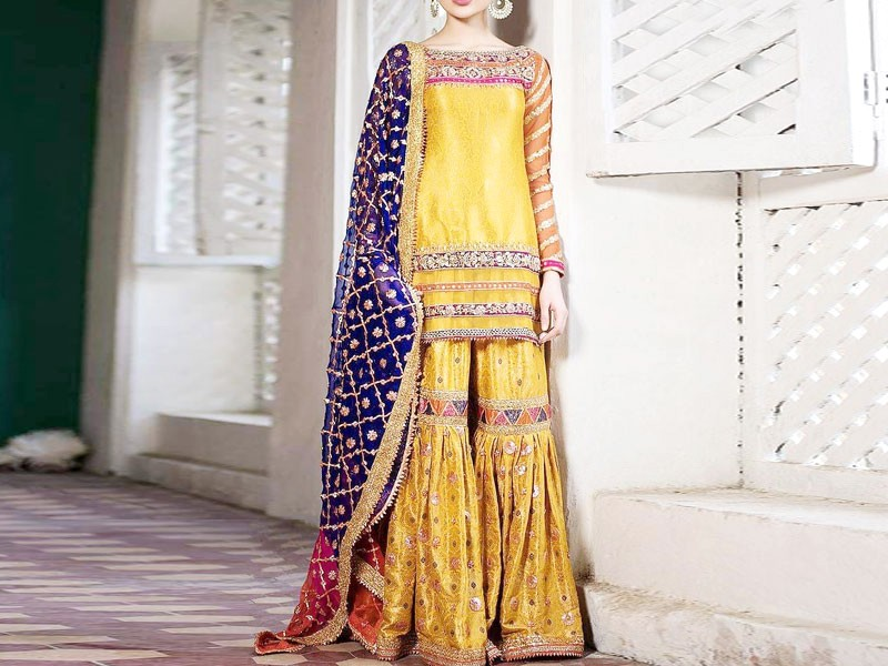 Heavy Embroidered Chiffon Mehndi Dress with Jamawar Trouser