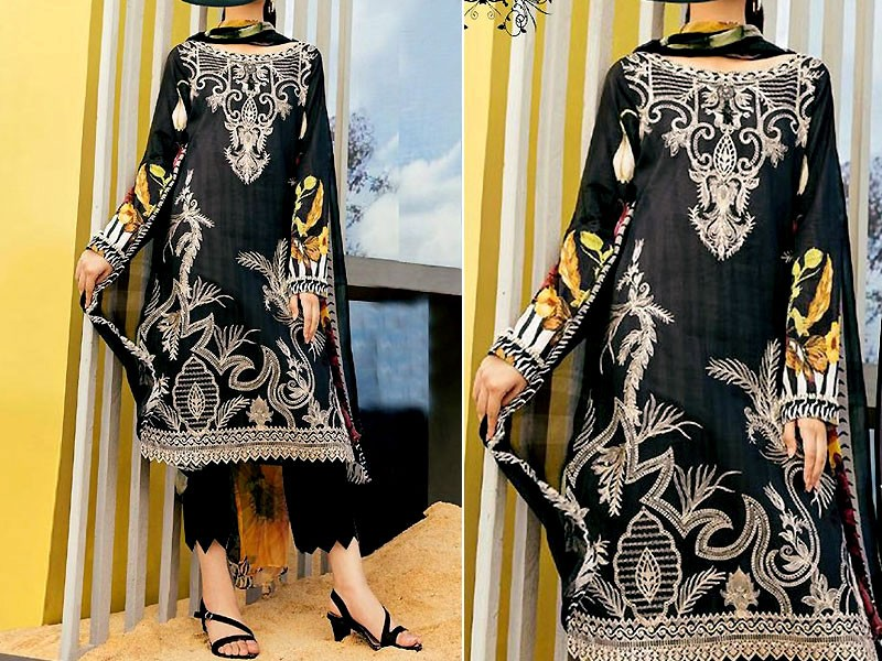 Embroidered Black Linen Dress with Wool Shawl Dupatta