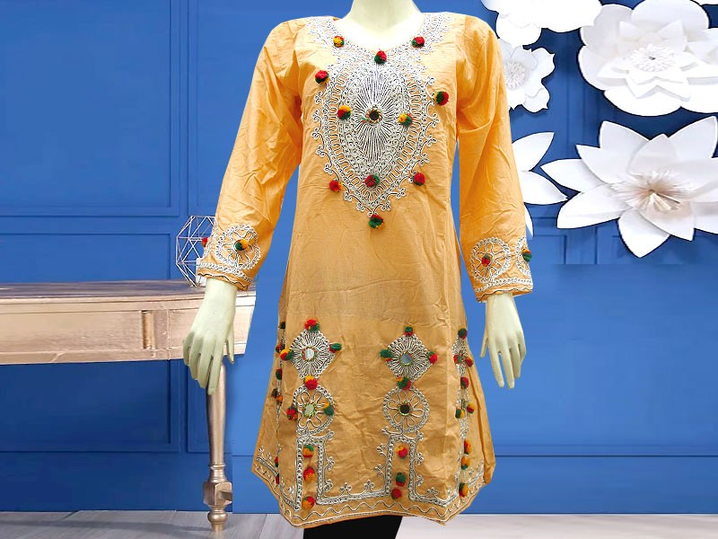 Embroidered Cotton Kurti for Girls