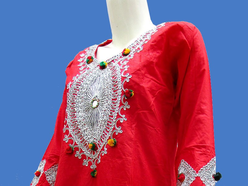 Embroidered Red Cotton Kurti for Girls
