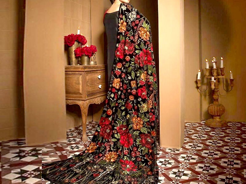 Designer Heavy Embroidered Velvet Shawl