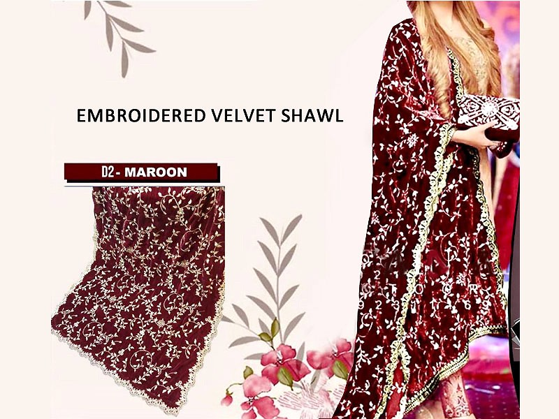 Heavy Embroidered Velvet Shawl - Maroon Price in Pakistan