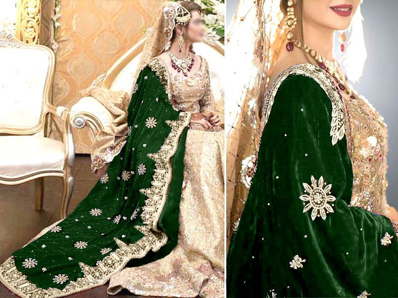 Heavy Embroidered Bridal Velvet Shawl - Green Price in Pakistan