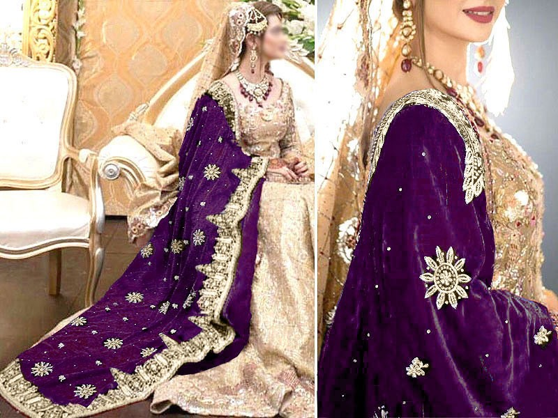 Heavy Embroidered Bridal Velvet Shawl - Purple Price in Pakistan