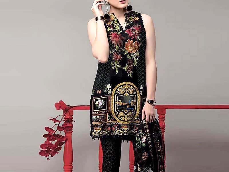 Embroidered Black Linen Dress with Wool Shawl Dupatta Price in Pakistan