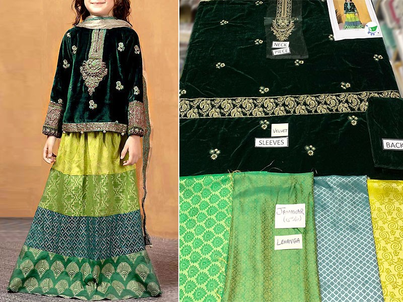Kids 2-Pcs Embroidered Velvet Dress with Jamawar Lehenga