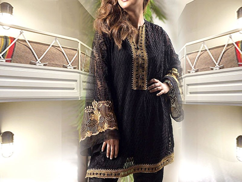 Embroidered Black Chiffon Kurti with Inner Price in Pakistan