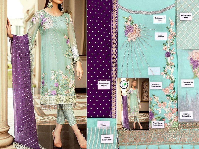Embroidered Chiffon Party Dress with Chiffon Dupatta