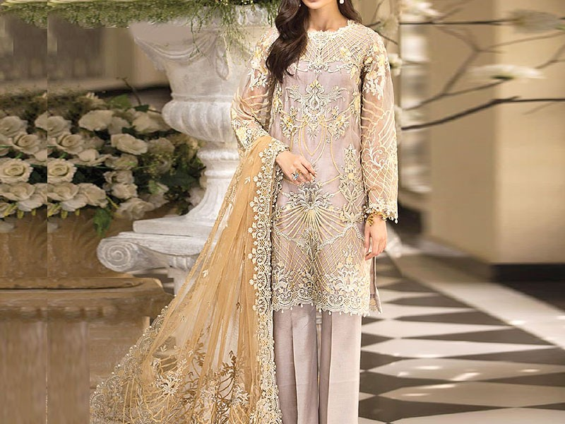 Embroidered Organza Wedding Dress with Net Dupatta Price in Pakistan