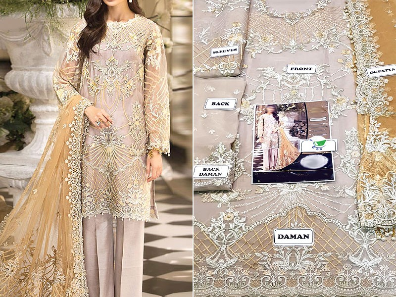Embroidered Organza Wedding Dress with Net Dupatta