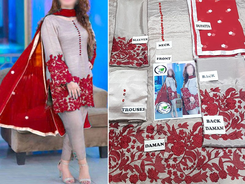 Embroidered Silk Dress with Chiffon Dupatta