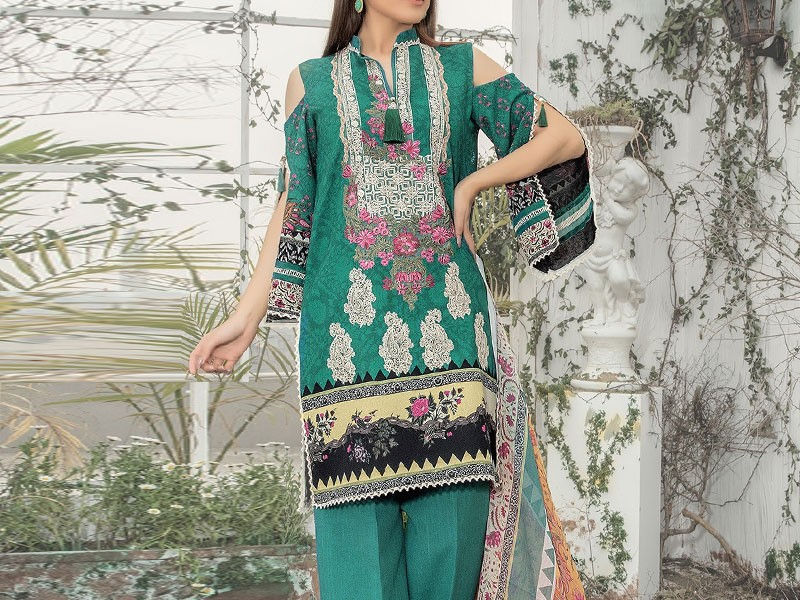 Pack of 2 Embroidered Linen Dresses with Wool Shawl Price in Pakistan