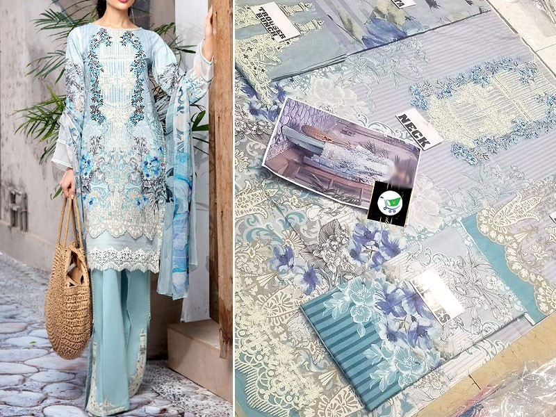 Embroidered Cambric Cotton Dress with Lawn Dupatta