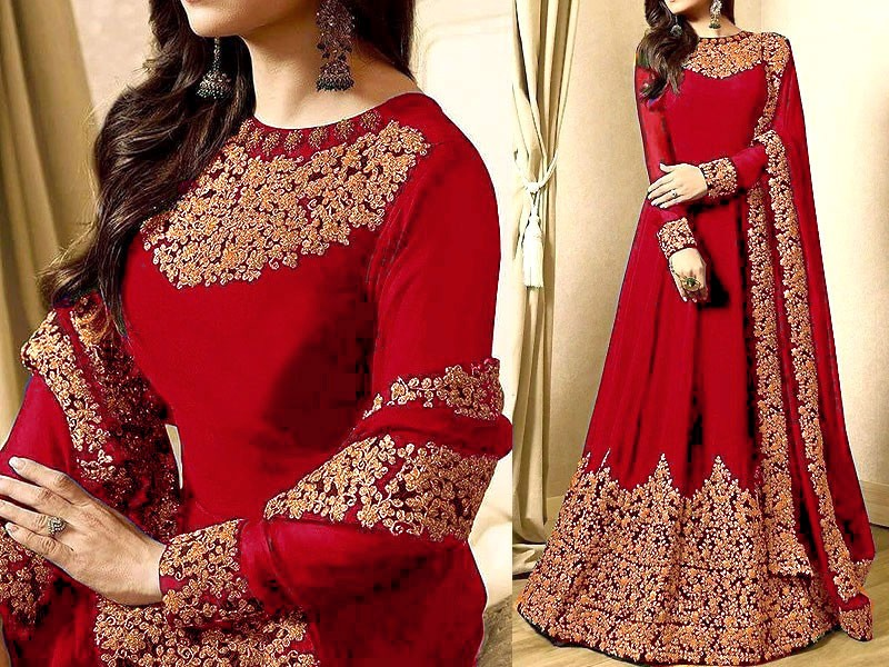 Indian Embroidered  Chiffon Red Maxi Dress
