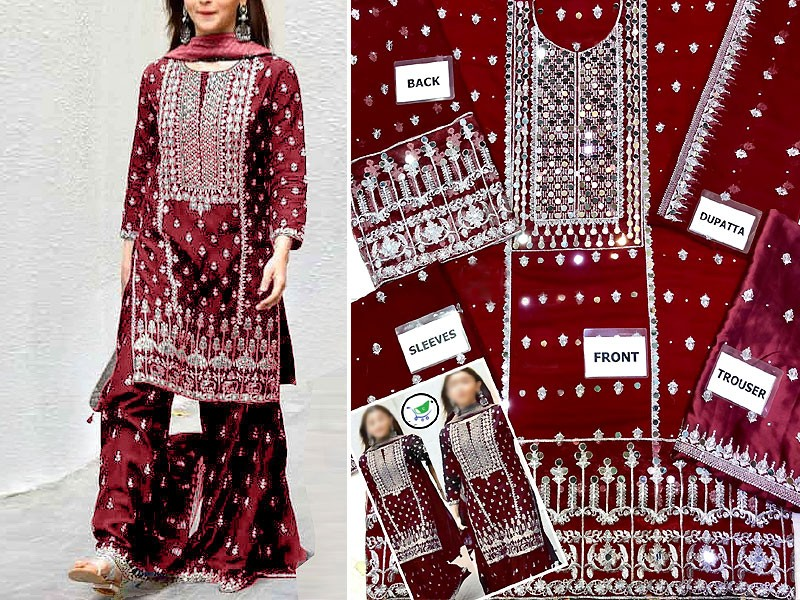 Embroidered Maroon Chiffon Party Dress