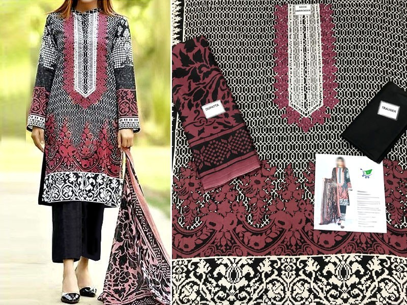Pack of 2 Embroidered Linen Dresses with Wool Shawl