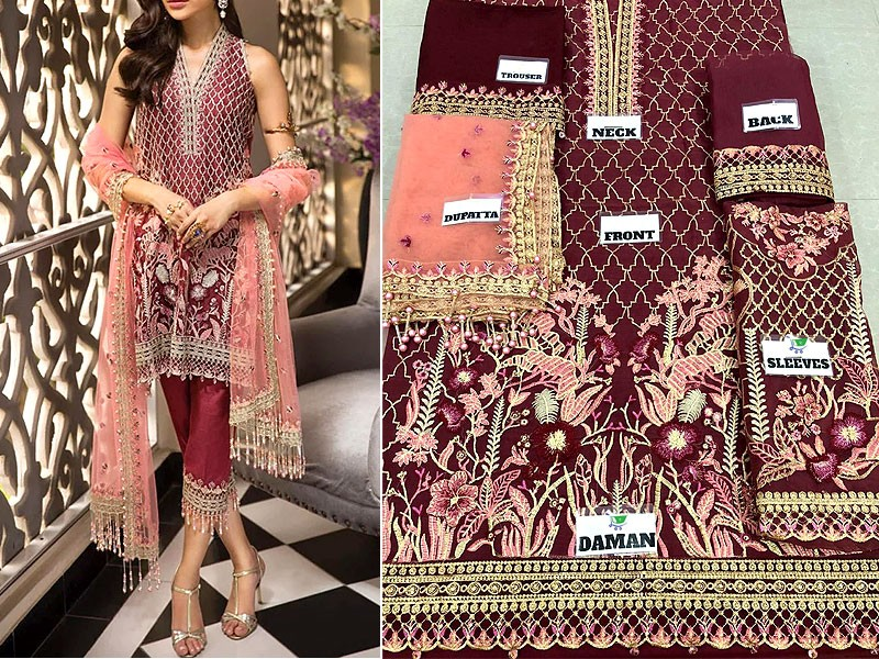 Heavy Embroidered Organza Dress with Net Dupatta