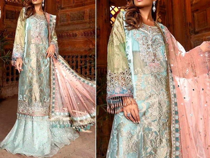Luxury Embroidered Organza Jacquard Dress with Net Dupatta