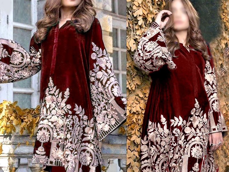 Heavy Embroidered Maroon Velvet Dress
