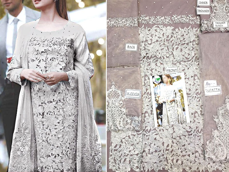 Heavy Embroidered Grey Net Dress with Inner