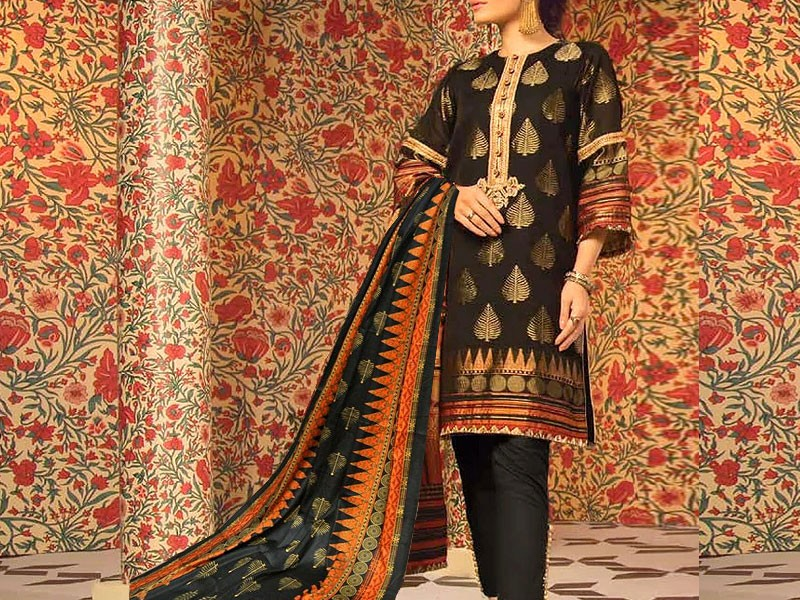 Embroidered Khaddar Dress with Wool Shawl Dupatta