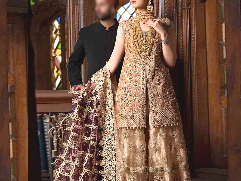 Luxury Heavy Handwork Embroidered Chiffon Bridal Dress Price in Pakistan