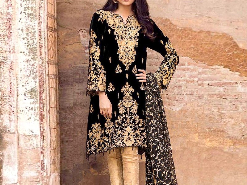Embroidered Black Velvet Dress with Chiffon Dupatta Price in Pakistan