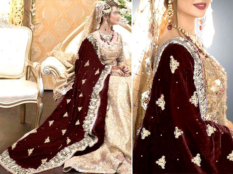 Heavy Embroidered Bridal Velvet Shawl Price in Pakistan