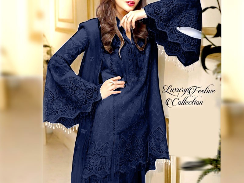 Embroidered Navy Blue Net Dress with Inner Price in Pakistan