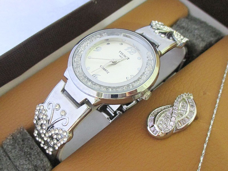Elegant Silver Jewellery & Watch Gift Set