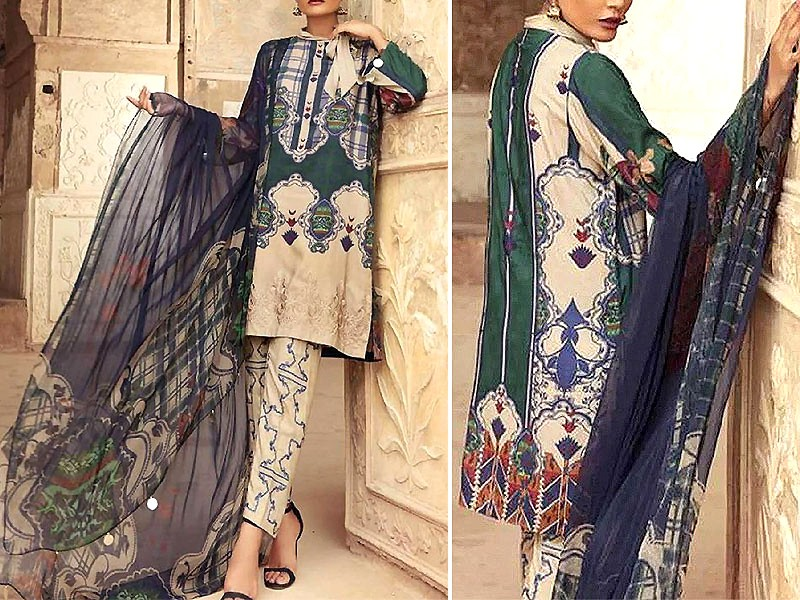 Embroidered Linen Dress with Embroidered Trouser & Wool Shawl