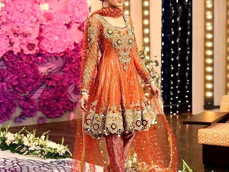Heavy Embroidered Net Dress with Inner Price in Pakistan