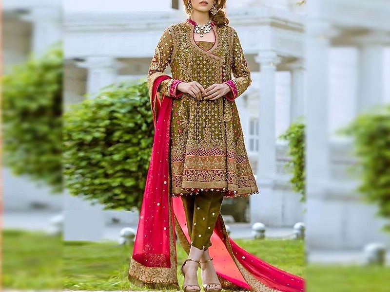 Heavy Embroidered Chiffon Bridal Dress with Embroidered Silk Trouser