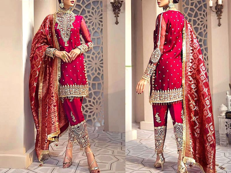 Heavy Embroidered Chiffon Dress with Jacquard Dupatta Price in Pakistan